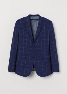H&M H & M - Skinny Fit Checked Blazer - Blue