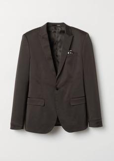 H&M H & M - Skinny Fit Satin Blazer - Black