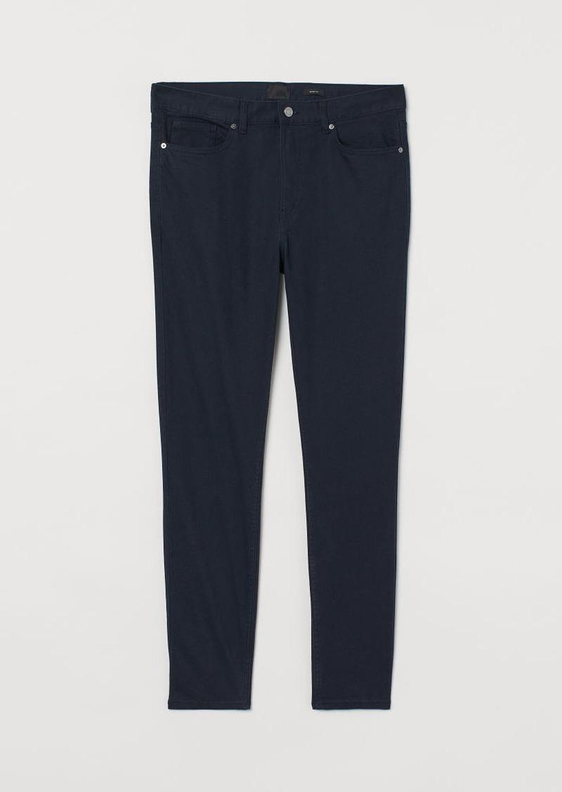 H&M H & M - Skinny Fit Twill Pants - Blue