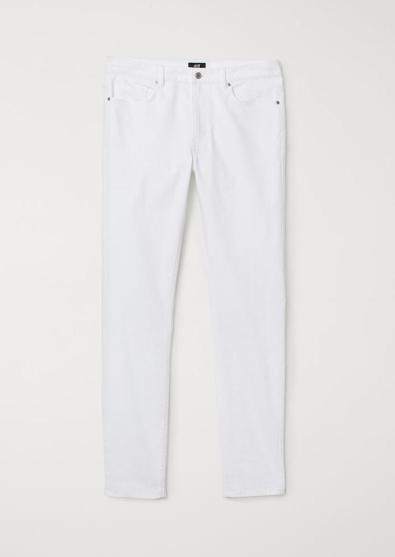 H&M H & M - Skinny Fit Twill Pants - White
