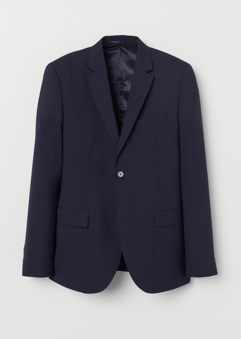 H&M H & M - Skinny Fit Wool Blazer - Blue