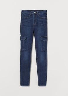 H&M H & M - Skinny High Cargo Jeans - Blue