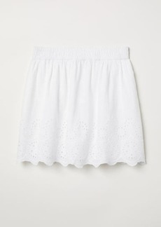 H&M H & M - Skirt with Embroidery - White