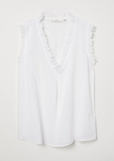 H&M H & M - Sleeveless Cotton Blouse - White