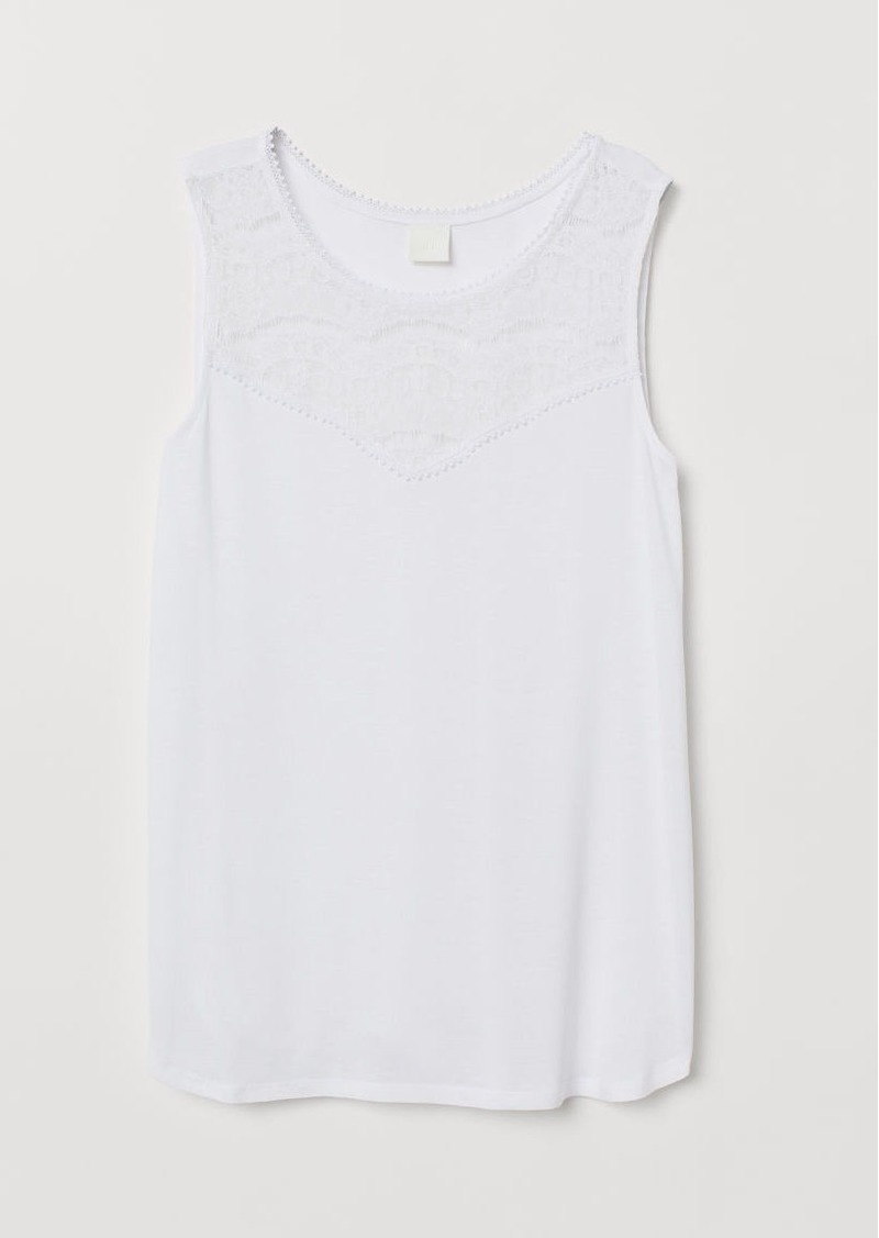 H&M H & M - Sleeveless Jersey Top - White