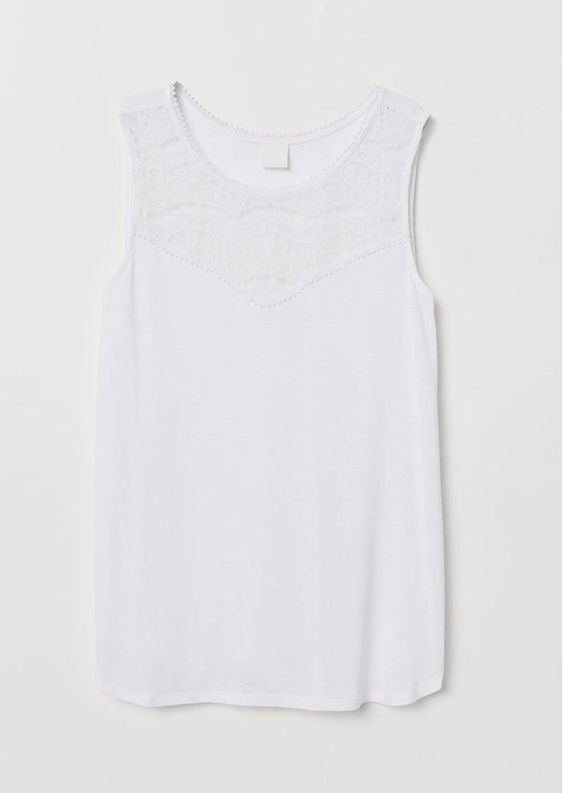 H&M H & M - Sleeveless Jersey Top - White