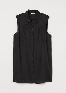 H&M H & M - Sleeveless Linen Blouse - Black