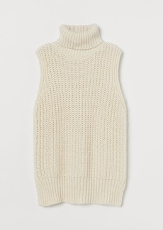 H&M H & M - Sleeveless Turtleneck Sweater - White