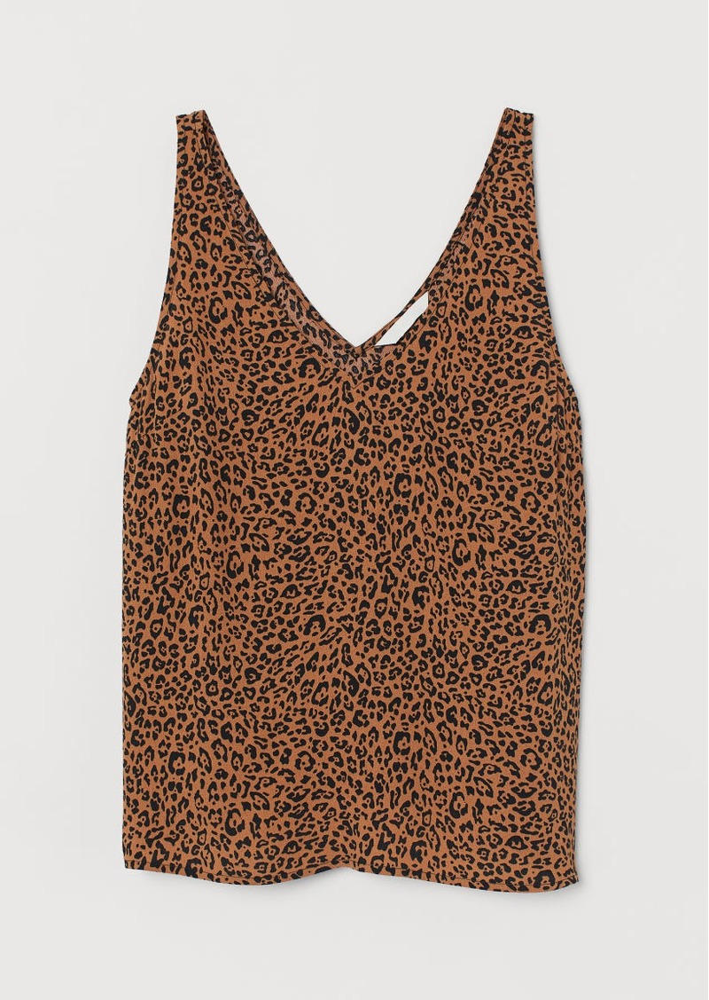 H&M H & M - Sleeveless V-neck Top - Orange