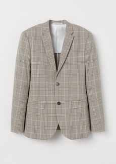 H&M H & M - Slim Fit Checked Blazer - Beige