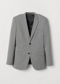 H&M H & M - Slim Fit Checked Wool Blazer - Beige