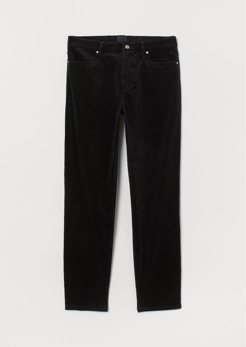 H&M H & M - Slim Fit Corduroy Pants - Black