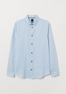 H&M H & M - Slim Fit Cotton Shirt - Blue
