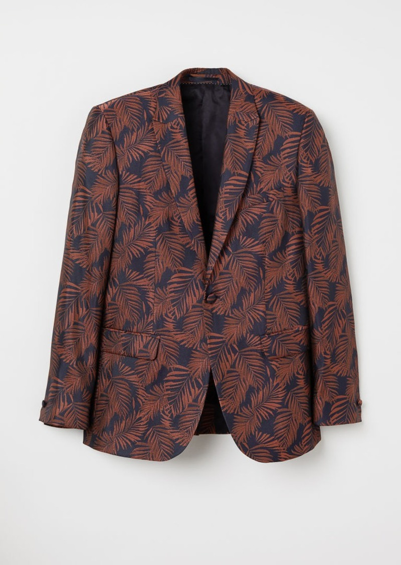 H&M H & M - Slim Fit Jacquard-weave Blazer - Blue