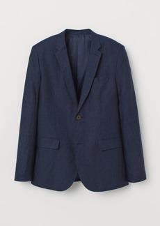 H&M H & M - Slim Fit Linen Blazer - Blue