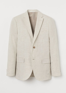H&M H & M - Slim Fit Linen Blazer - White