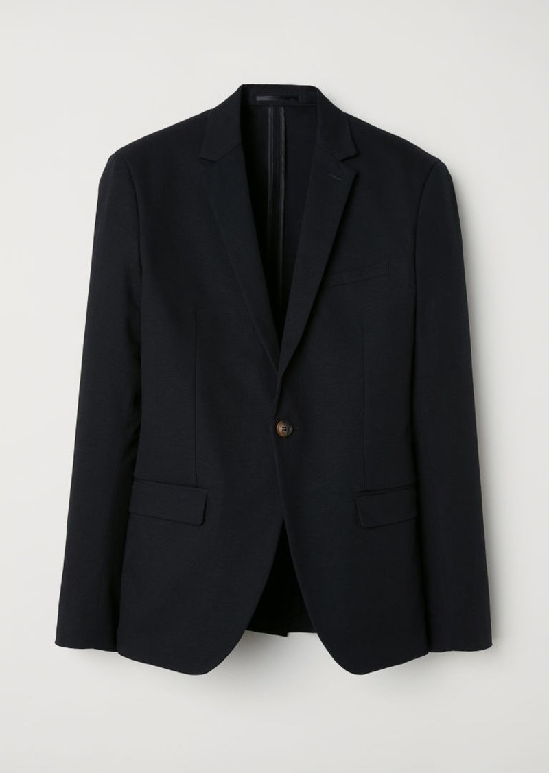 H&M H & M - Slim Fit Linen-blend Blazer - Black