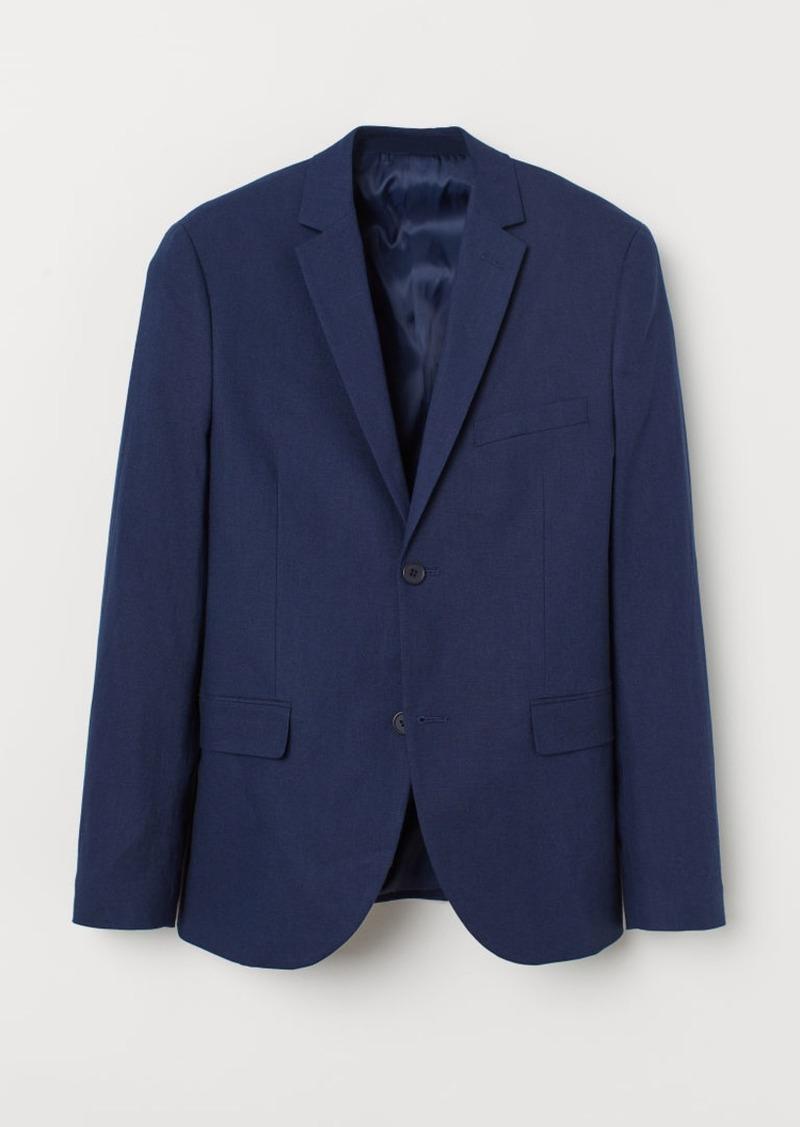 H&M H & M - Slim Fit Linen-blend Blazer - Blue