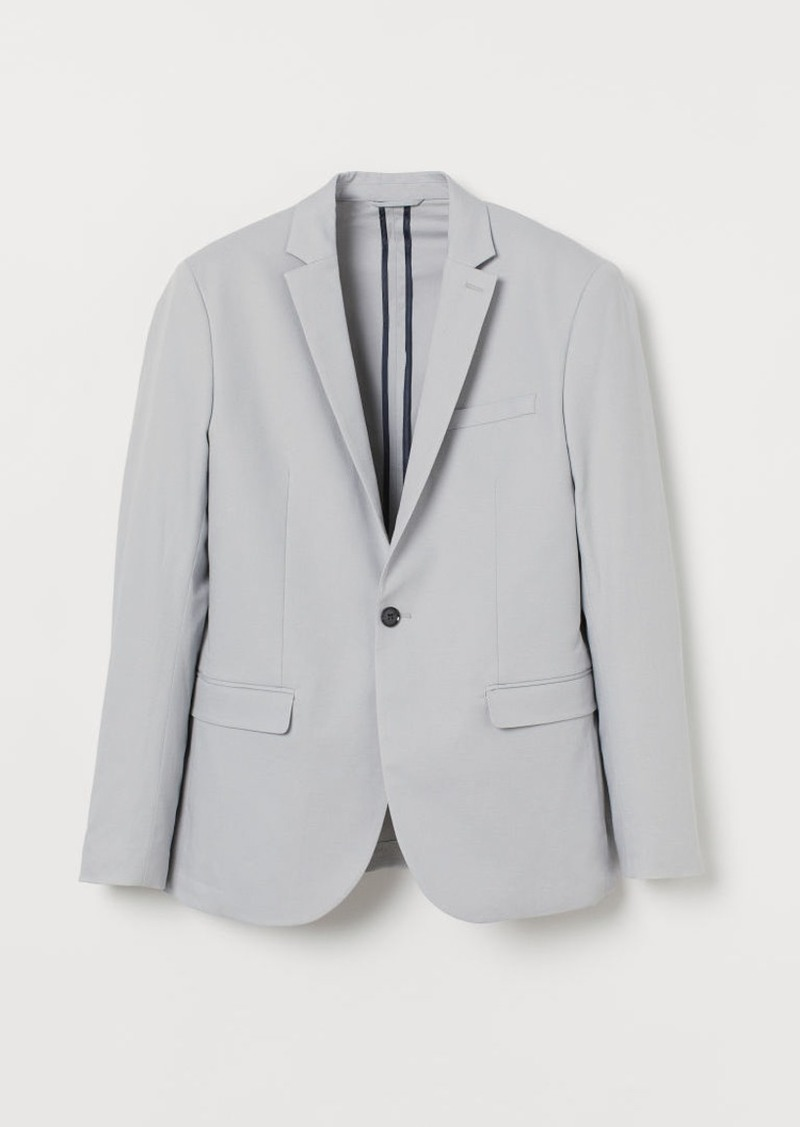 H&M H & M - Slim Fit Linen-blend Blazer - Gray