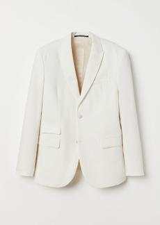 H&M H & M - Slim Fit Linen-blend Blazer - White