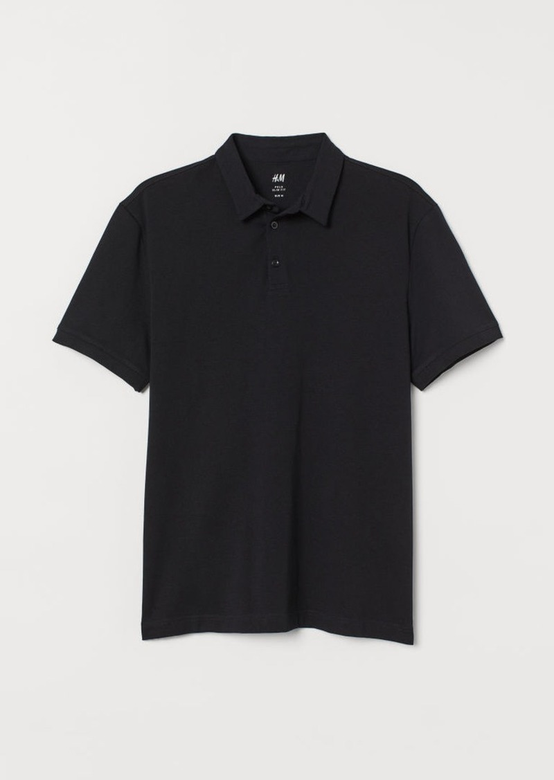 H&M H & M - Slim Fit Polo Shirt - Black