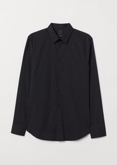H&M H & M - Slim Fit Stretch Shirt - Black