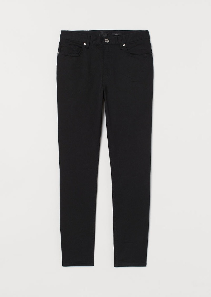 H&M H & M - Slim Fit Twill Pants - Black