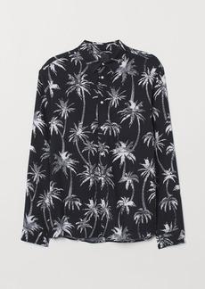 H&M H & M - Slim Fit Viscose Shirt - Black