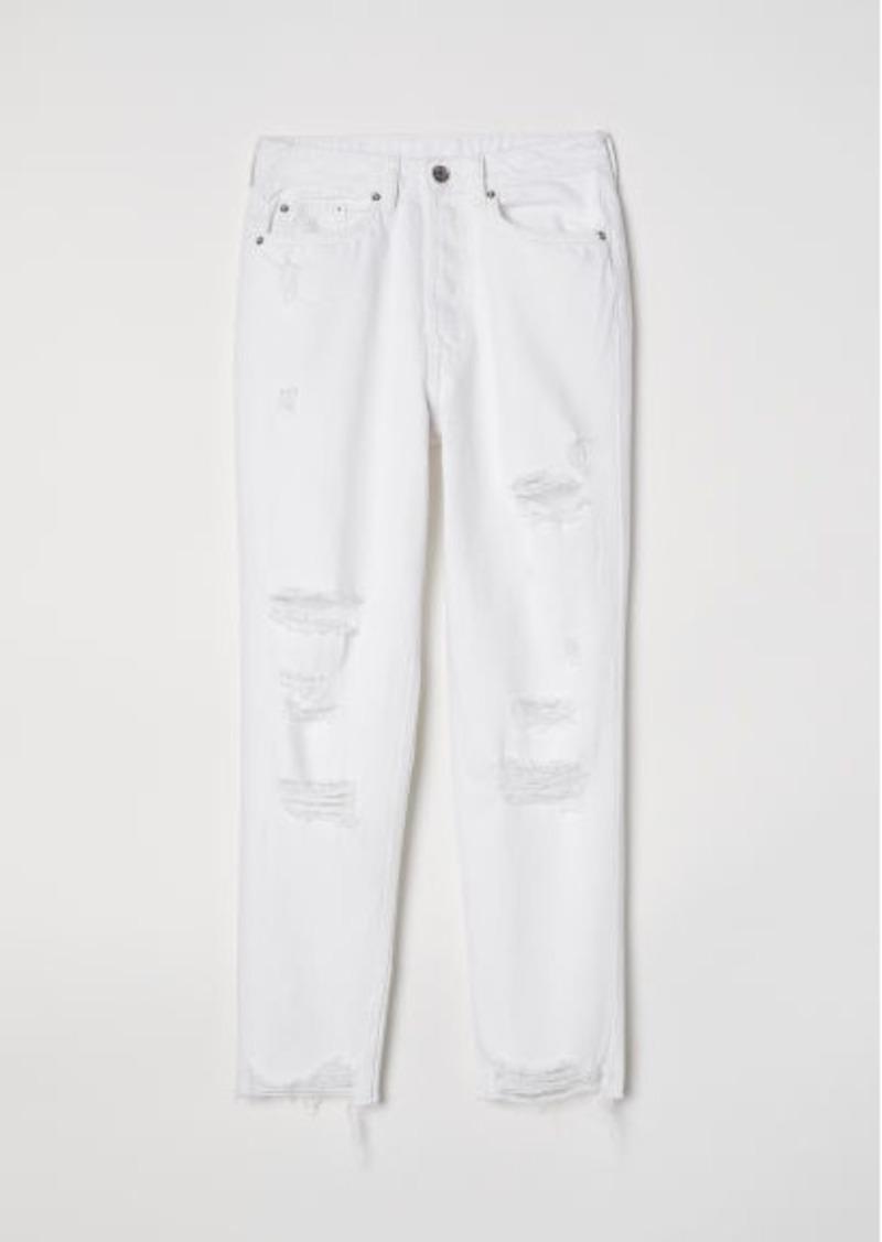 0c38a0948d0b1 H&M H & M - Slim Mom Jeans Trashed - White | Denim