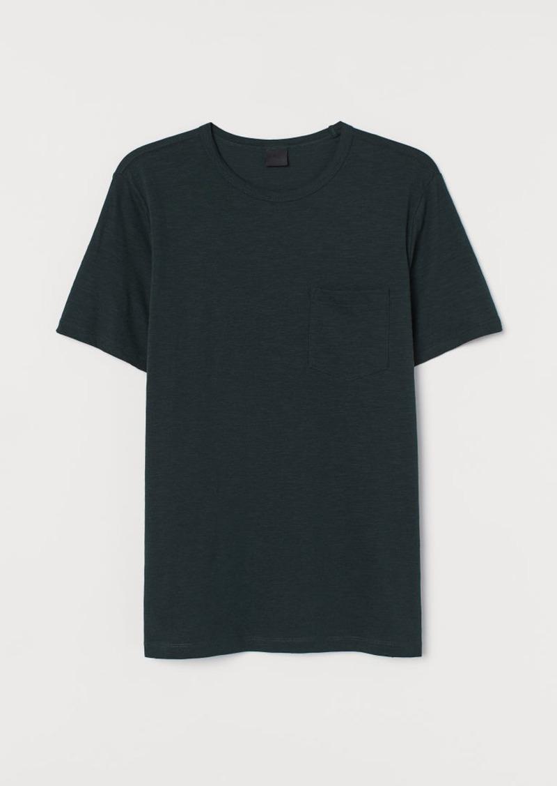 H&M H & M - Slub Jersey T-shirt - Green