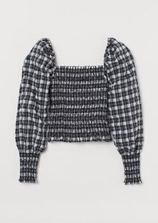 H&M H & M - Smocked Blouse - Black