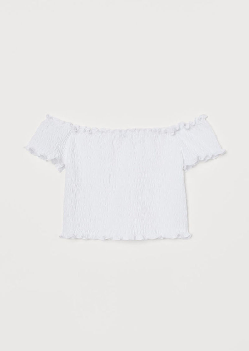 H&M H & M - Smocked Off-the-shoulder Top - White