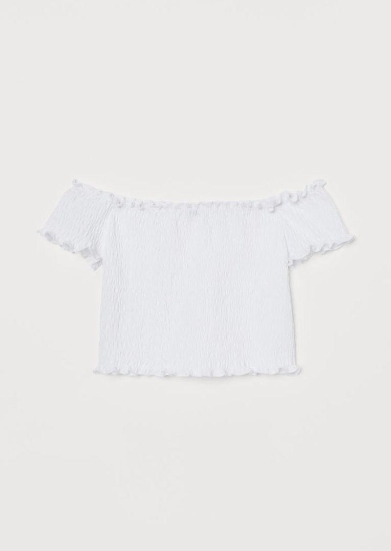 H&M H & M - Smocked Off-the-shoulder Top - White