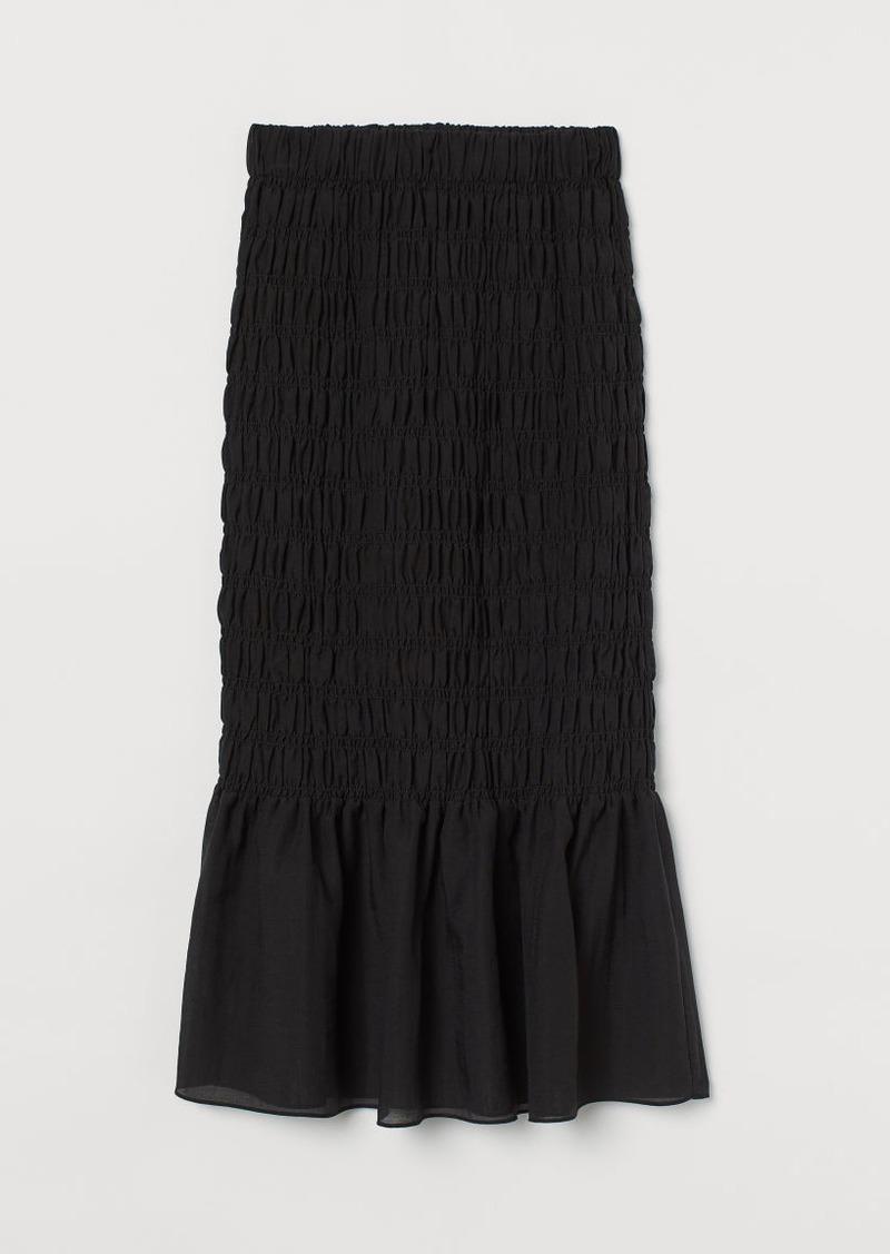 H&M H & M - Smocked Skirt - Black