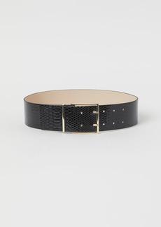 H&M H & M - Snakeskin-patterned Waist Belt - Black