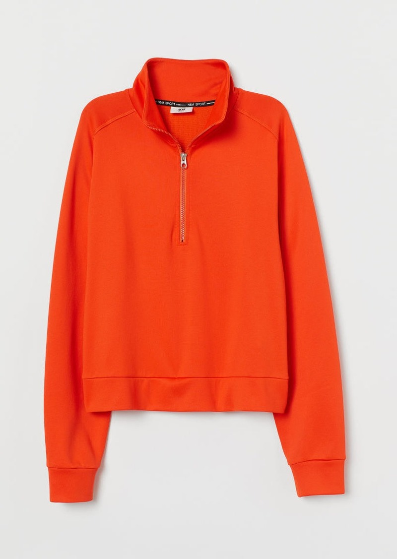 H&M H & M - Sports Top with Zip - Orange