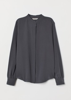 H&M H & M - Stand-up Collar Silk Blouse - Gray