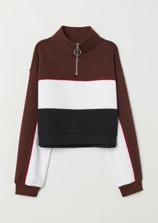 H&M H & M - Stand-up Collar Sweatshirt - Brown