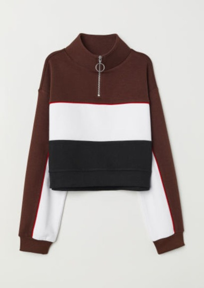 diseño de calidad a403f daf6f H & M - Stand-up Collar Sweatshirt - Brown