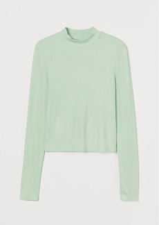 H&M H & M - Stand-up Collar Top - Green