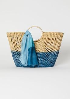 H&M H & M - Straw Bag with Scarf - Beige
