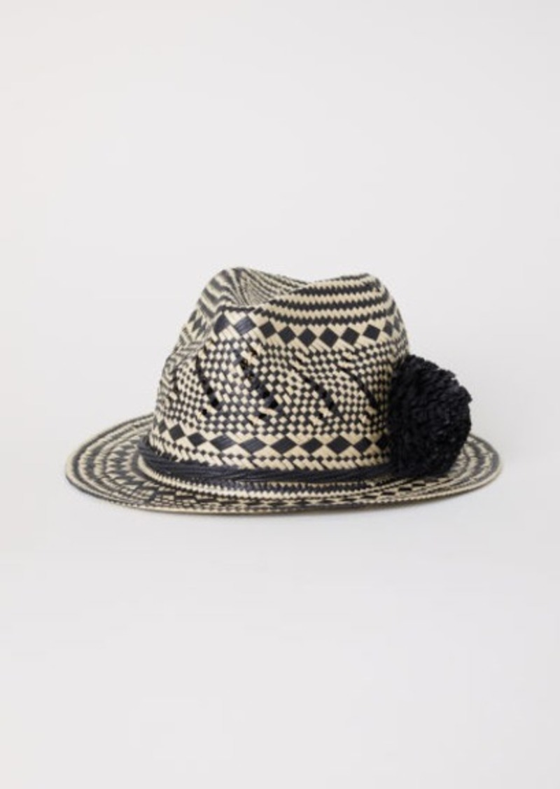 On Sale today! H M H   M - Straw Hat with Pompom - Black ee275a8adf8