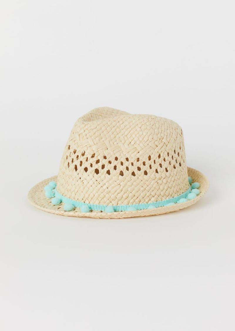 H&M H & M - Straw Hat with Pompoms - Beige