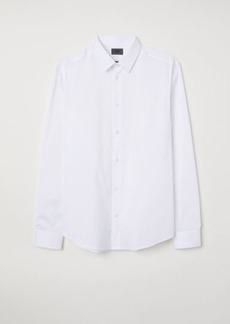 H&M H & M - Slim Fit Stretch Shirt - White