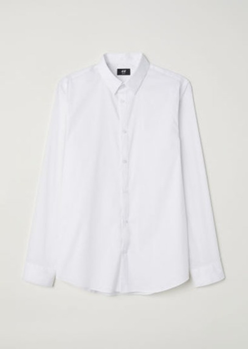 H&M H & M - Slim Fit Stretch Shirt - White