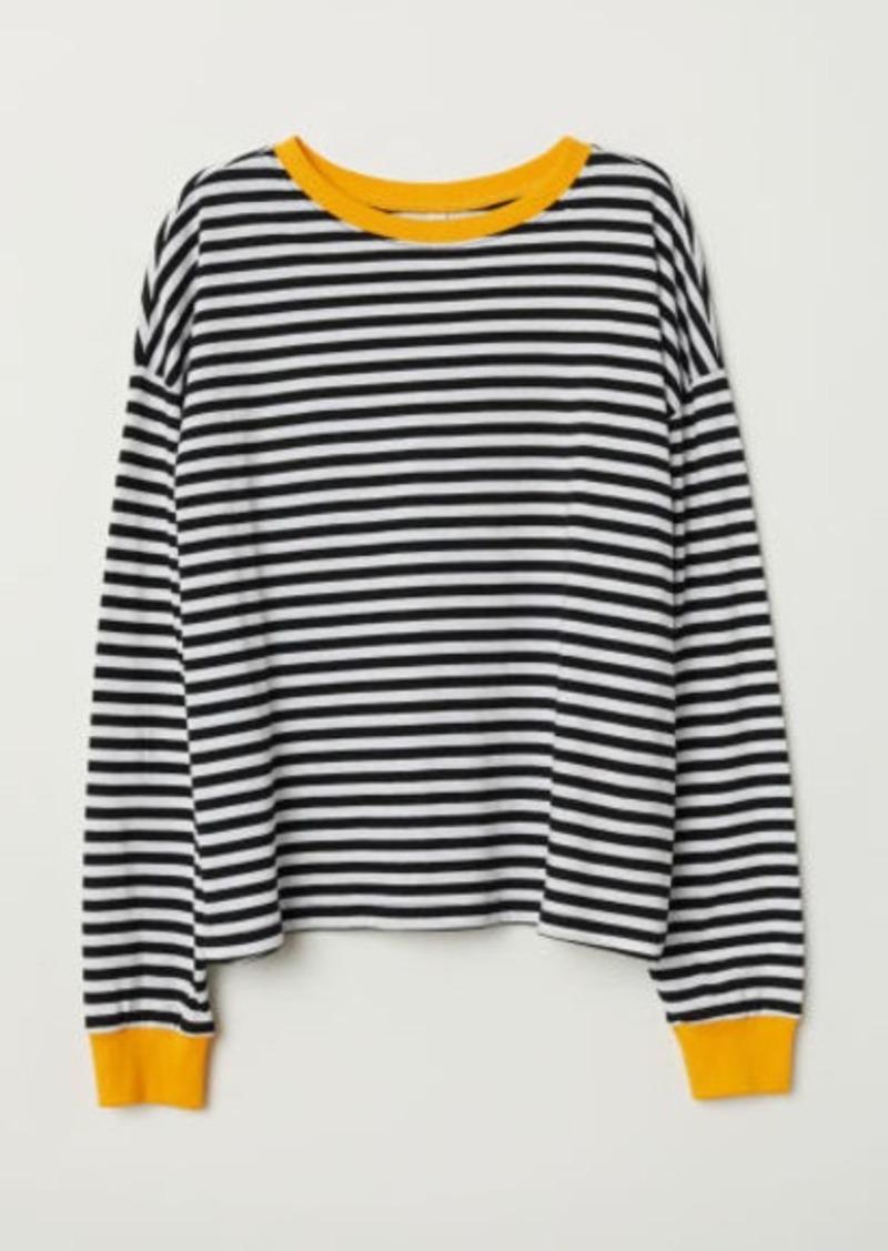 H&M H & M - Striped Jersey Top - Black
