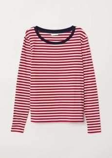 H&M H & M - Striped Jersey Top - Blue