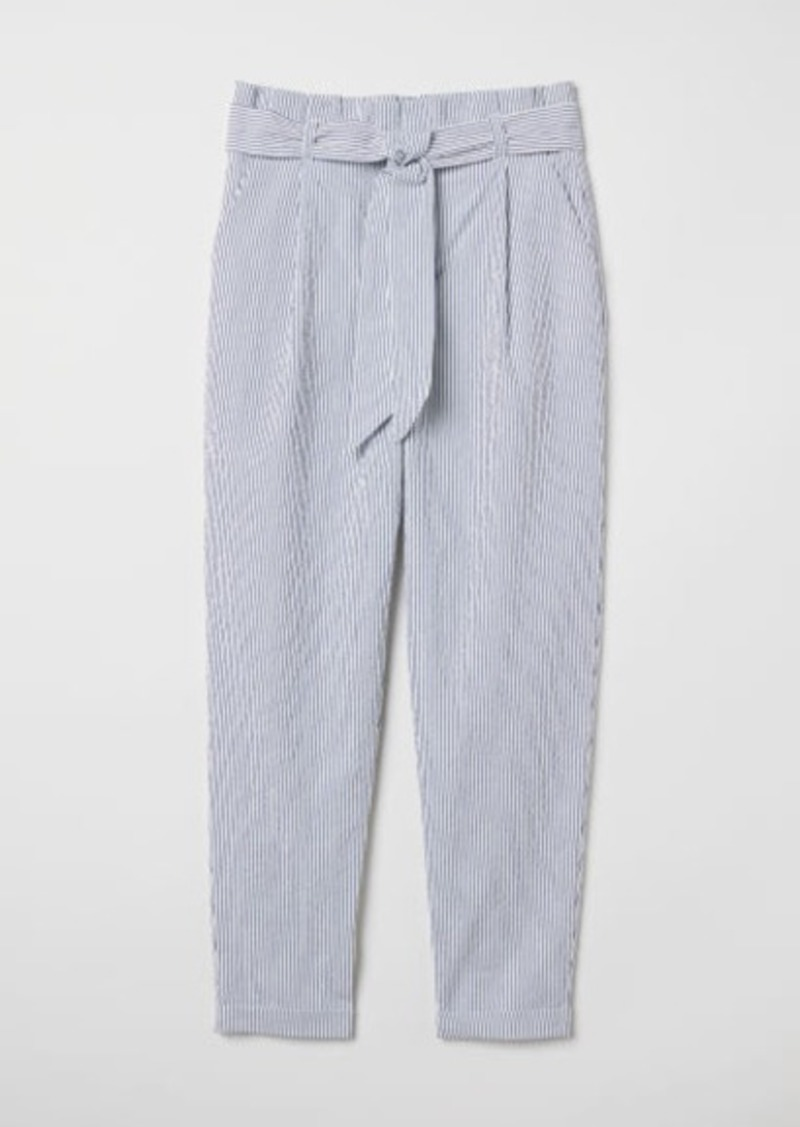 new items limpid in sight special discount of H & M - Striped Paper-bag Pants - White