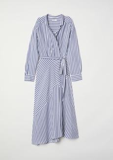 H&M H & M - Striped Wrap-front Dress - Blue