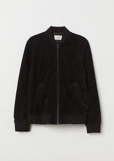 H&M H & M - Suede Bomber Jacket - Black